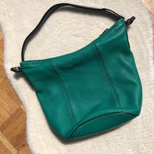 Cole Haan Green Pebble Leather Shoulder Bag